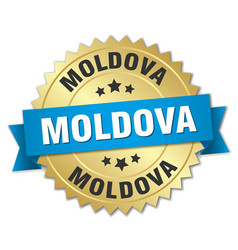 Moldova round golden badge with blue ribbon vector