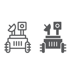 Moon rover line and glyph icon space and vector