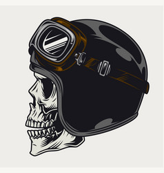 Motorcyclist skull side view vintage template vector