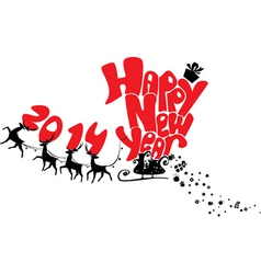 New Year card with flying rein deers - 2014 vector