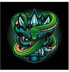 oni head mascot logo with green snake vector image