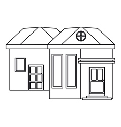 Outline family house exterior concept vector