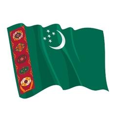 Political waving flag of turkmenistan vector