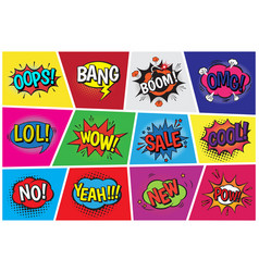 pop art comic speech cartoon bubbles in vector image