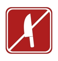 Restricted knife kitchen cook element square sign vector