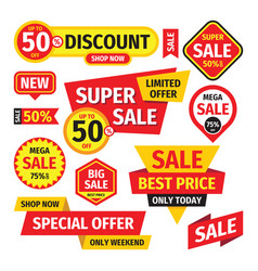 Sale tag design badge set discount abstract banne vector