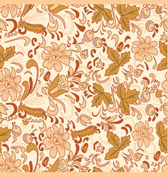 Seamless brown flowers background vector image