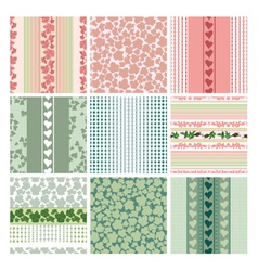 seamless patterns of the roses and leaves set vector image