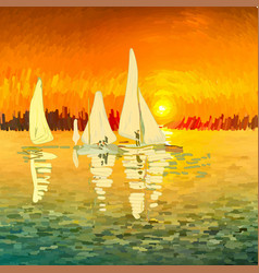 seascape with sailboats in art style vector image