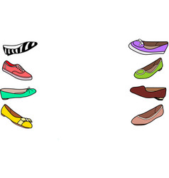 Set of female flat shoes vector image