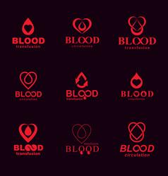 set of symbols created on blood donation theme vector image