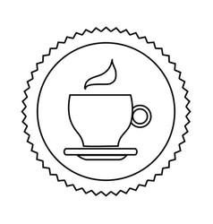 silhouette seal sticker with silhouette coffee cup vector image
