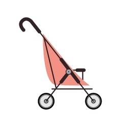simple pink baby carriage and wheels vector image