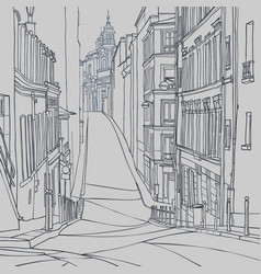 Sketch of a city street of old european city vector