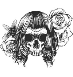 skull with flowers with roses drawing by hand vector image