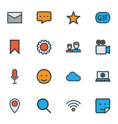 Social icons colored line set with gif sticker vector
