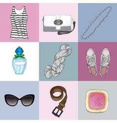 Stylish fashion set of womans clothes accessories vector