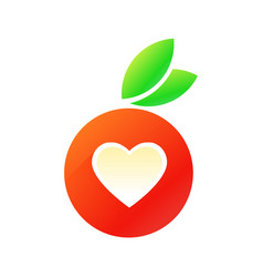 tasty red apple with heart vector image