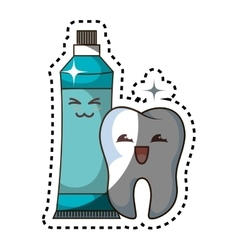 teeth funny character with toothpaste kawaii style vector image