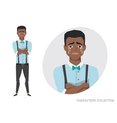 The black african american guy crossed his arms vector