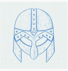 Viking helmet hand drawn sketch on lined paper vector