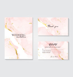 Wedding invitation set with liguid fluis vector