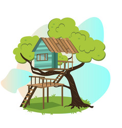 Wooden treehouse with upstairs poster vector