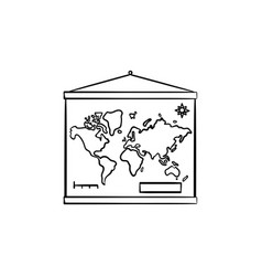 world map hanging on the wall hand drawn outline vector image