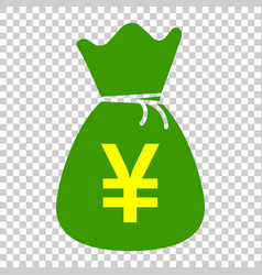 yen yuan bag money currency icon in flat style vector image
