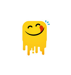 Yummy face happy smile cartoon line vector