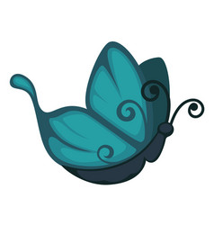 blue cartoon butterfly from side view isolated vector image