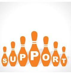 bowling pins make support word vector image vector image