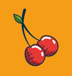 cherry fresh fruit handmade drawn vector image vector image