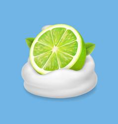 lime slice in yogurt or whipped cream splash vector image vector image