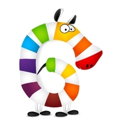 Number six Made of colorful animal cartoon vector image vector image