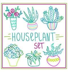 Set of hand-drawn doodle outline houseplants vector image