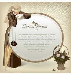 Woman with a mirror vector image