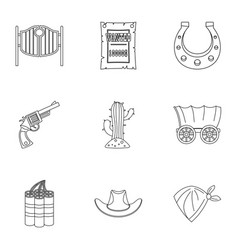 american cowboy icon set outline style vector image