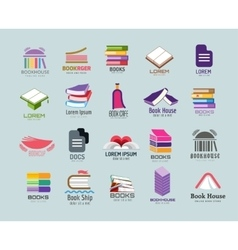 Book logo template set vector image
