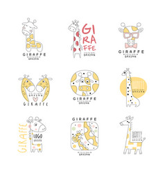 cute giraffe logo template original design set vector image vector image