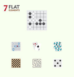 flat icon play set of ace backgammon chess table vector image