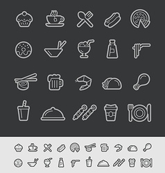 Food and Drink Icons Black Background vector image vector image