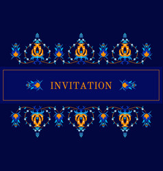 greeting card invitation with oiental pattern vector image vector image