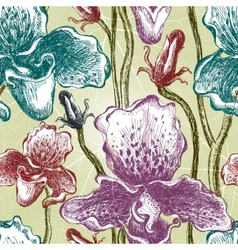Seamless orchid floral pattern EPS10 vector image