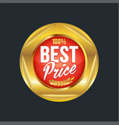 set of excellent quality red badges with gold vector image vector image