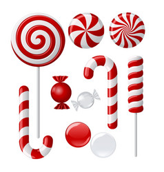 set with different red and white candies vector image vector image