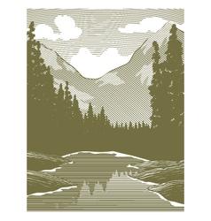 Woodcut Wilderness River Scene vector image