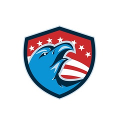 Bald eagle head american stars and stripes shield vector