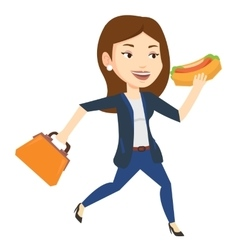 Business woman eating hot dog vector image vector image