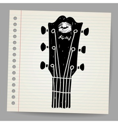 sketch of an acoustic guitar neck vector image vector image